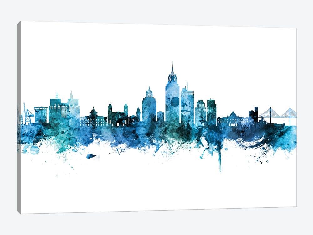 Mobile Alabama Skyline Blue Teal by Michael Tompsett 1-piece Canvas Print