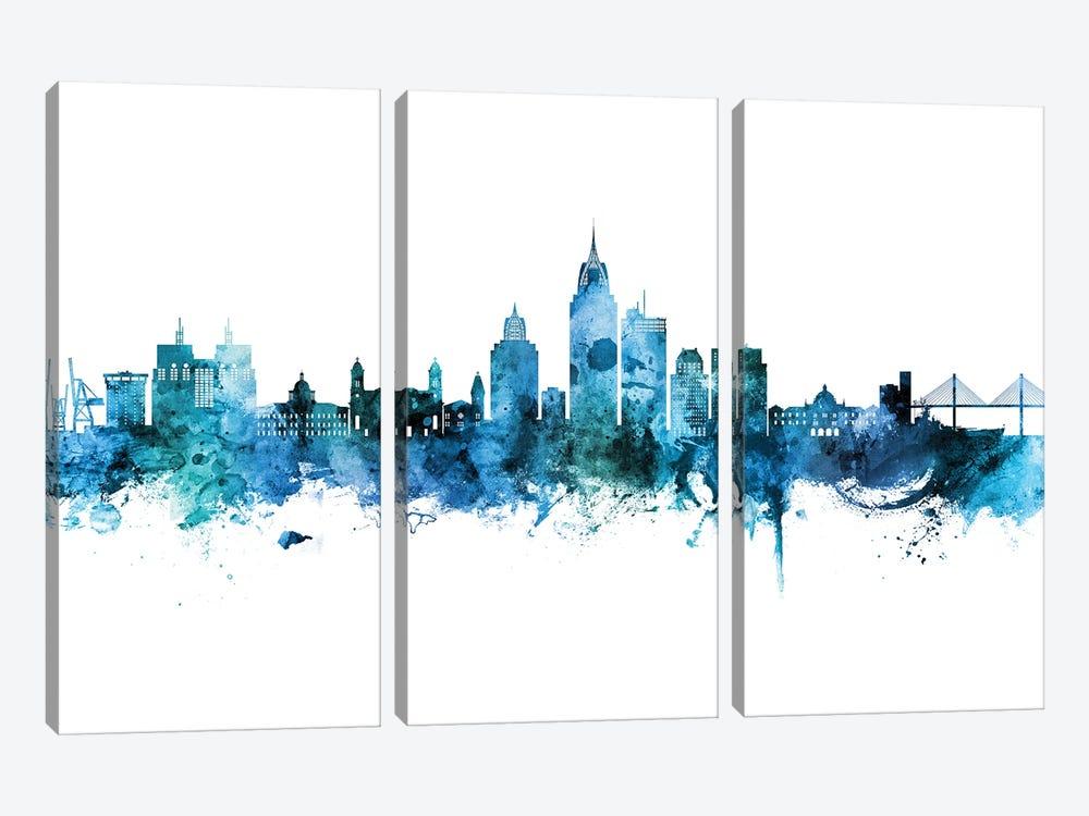 Mobile Alabama Skyline Blue Teal by Michael Tompsett 3-piece Canvas Art Print