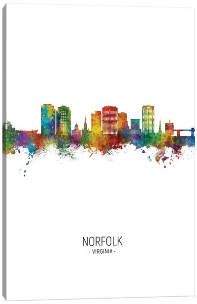 Norfolk Virginia Skyline Portrait Canvas Art Print