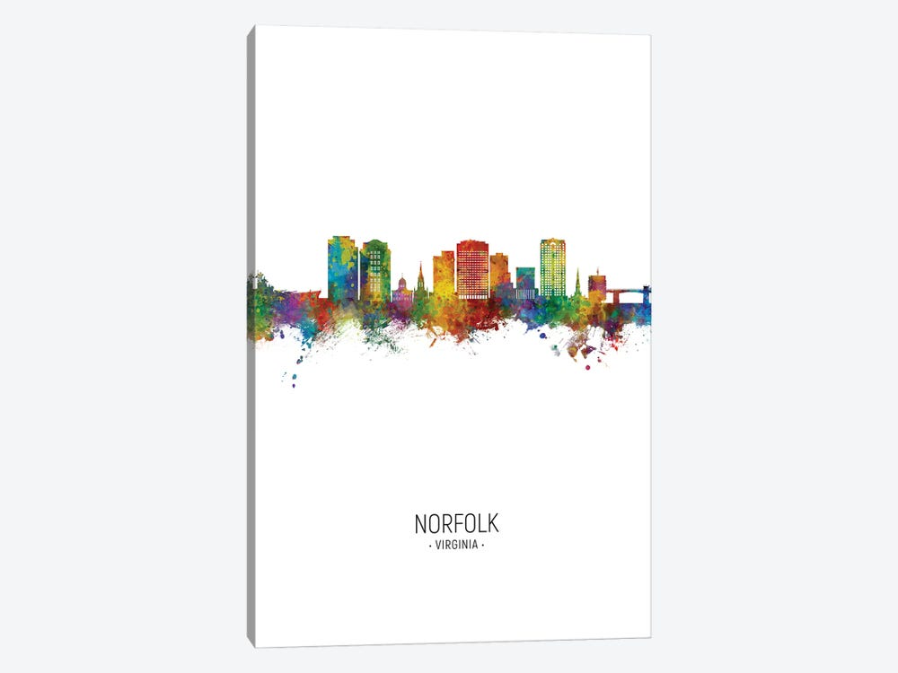 Norfolk Virginia Skyline Portrait by Michael Tompsett 1-piece Canvas Wall Art