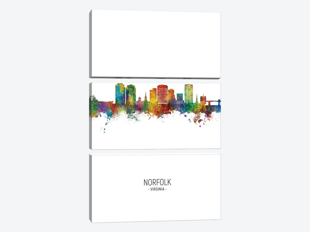 Norfolk Virginia Skyline Portrait by Michael Tompsett 3-piece Canvas Artwork