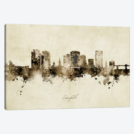 Norfolk Virginia Skyline Vintage Canvas Print #MTO2942} by Michael Tompsett Canvas Print