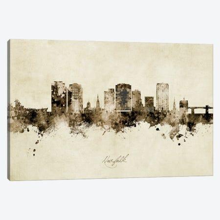 Norfolk Virginia Skyline Vintage Canvas Print #MTO2942} by Michael Tompsett Canvas Print
