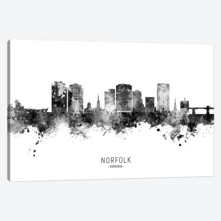 Norfolk Virginia Skyline Name Bw Canvas Print #MTO2943} by Michael Tompsett Art Print
