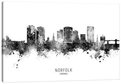 Norfolk Virginia Skyline Name Bw Canvas Art Print