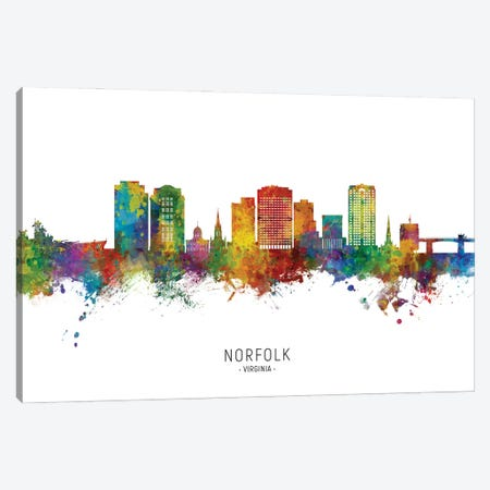 Norfolk Virginia Skyline City Name Canvas Print #MTO2944} by Michael Tompsett Canvas Wall Art