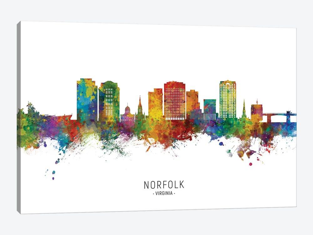 Norfolk Virginia Skyline City Name by Michael Tompsett 1-piece Art Print