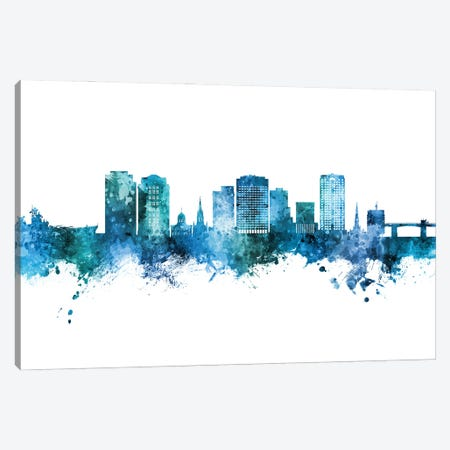 Norfolk Virginia Skyline Blue Teal Canvas Print #MTO2945} by Michael Tompsett Canvas Artwork