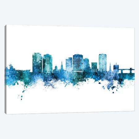 Norfolk Virginia Skyline Blue Teal Canvas Print #MTO2945} by Michael Tompsett Canvas Artwork