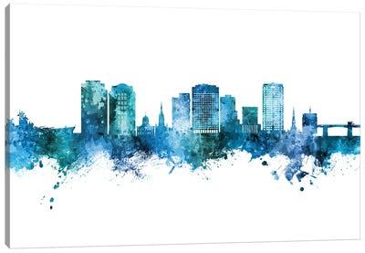 Norfolk Virginia Skyline Blue Teal Canvas Art Print