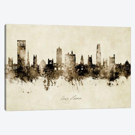 New Haven Connecticut Skyline Vintage Canvas Print #MTO2947} by Michael Tompsett Canvas Artwork