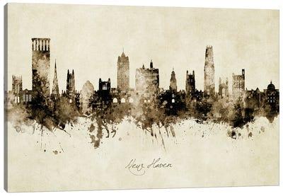 New Haven Connecticut Skyline Vintage Canvas Art Print