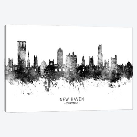New Haven Connecticut Skyline Name Bw Canvas Print #MTO2948} by Michael Tompsett Canvas Print