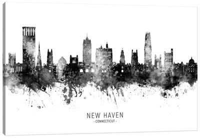 New Haven Connecticut Skyline Name Bw Canvas Art Print