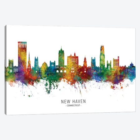 New Haven Connecticut Skyline City Name Canvas Print #MTO2949} by Michael Tompsett Canvas Print