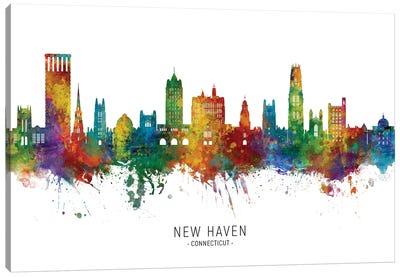 New Haven Connecticut Skyline City Name Canvas Art Print
