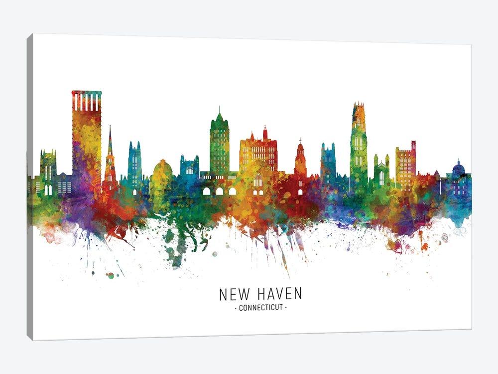 New Haven Connecticut Skyline City Name by Michael Tompsett 1-piece Canvas Art