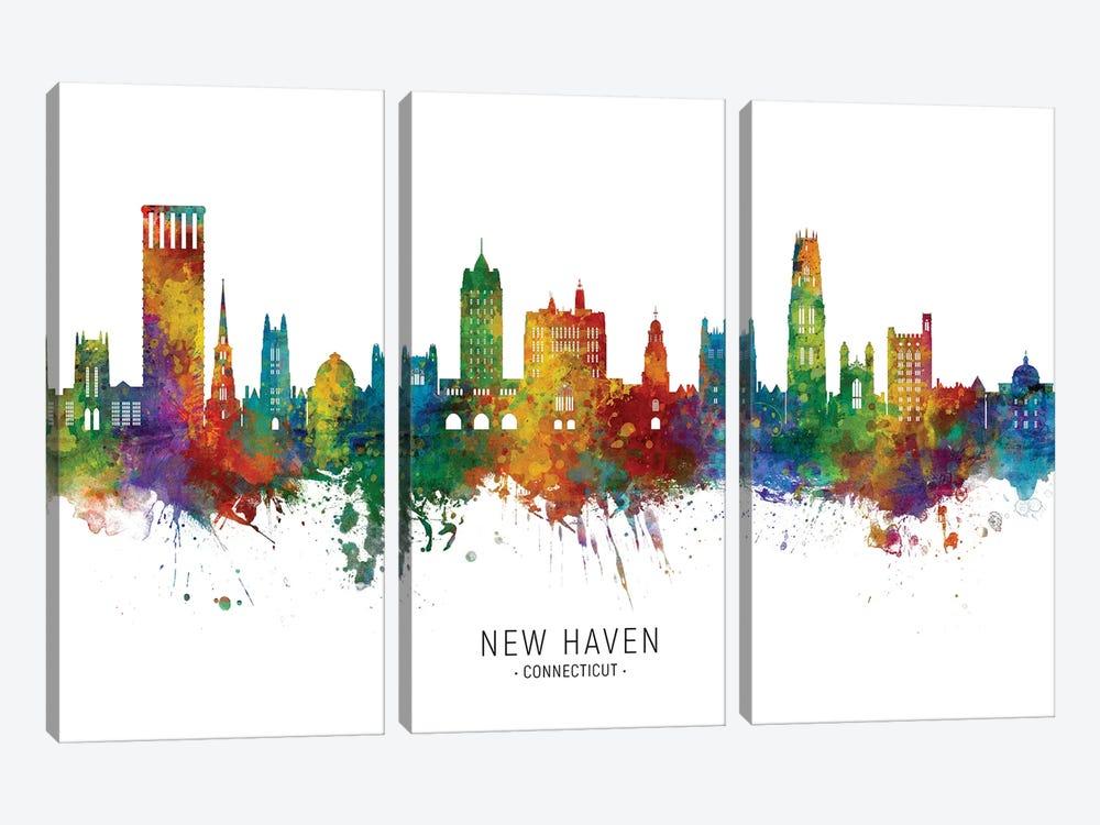 New Haven Connecticut Skyline City Name by Michael Tompsett 3-piece Canvas Artwork