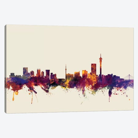 Johannesburg, South Africa On Beige Canvas Print #MTO294} by Michael Tompsett Canvas Art Print