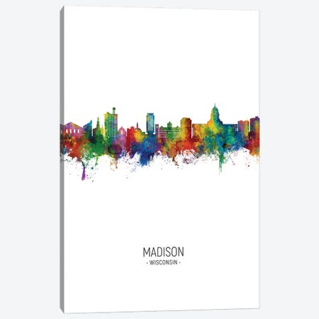 Madison Ii Wisconsin Skyline Portrait Canvas Print #MTO2950} by Michael Tompsett Canvas Wall Art
