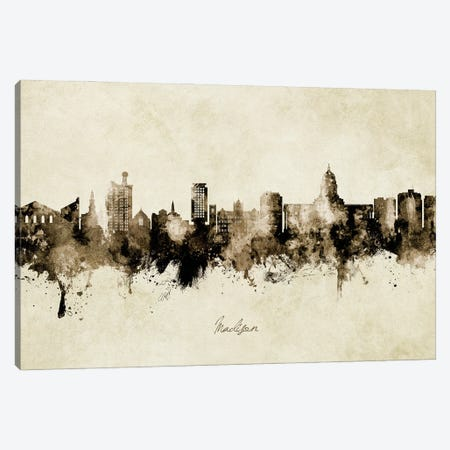 Madison Ii Wisconsin Skyline Vintage Canvas Print #MTO2951} by Michael Tompsett Canvas Art