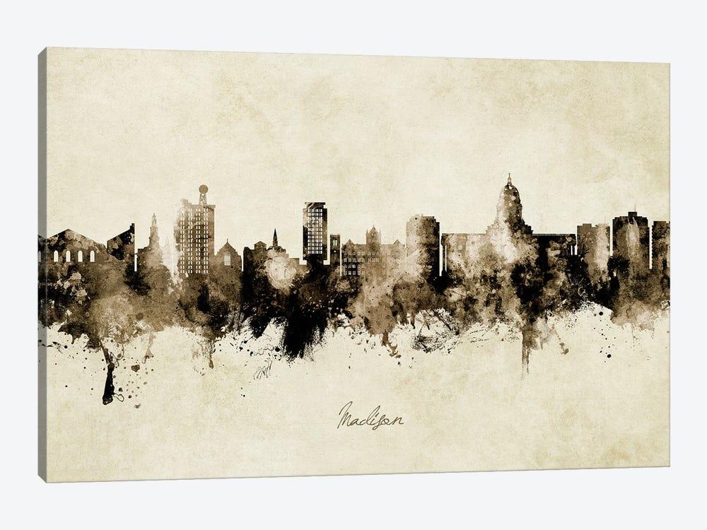 Madison Ii Wisconsin Skyline Vintage by Michael Tompsett 1-piece Art Print