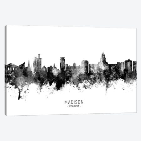 Madison Ii Wisconsin Skyline Name Bw Canvas Print #MTO2952} by Michael Tompsett Canvas Artwork