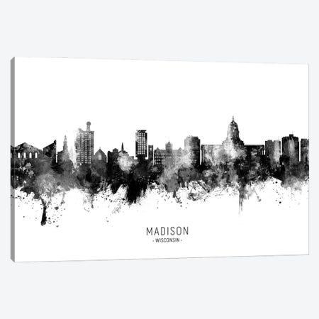 Madison Ii Wisconsin Skyline Name Bw Canvas Print #MTO2952} by Michael Tompsett Canvas Artwork