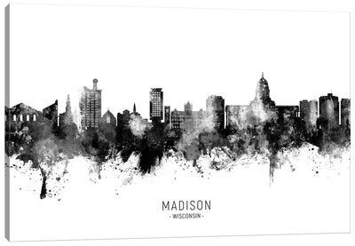 Madison Ii Wisconsin Skyline Name Bw Canvas Art Print