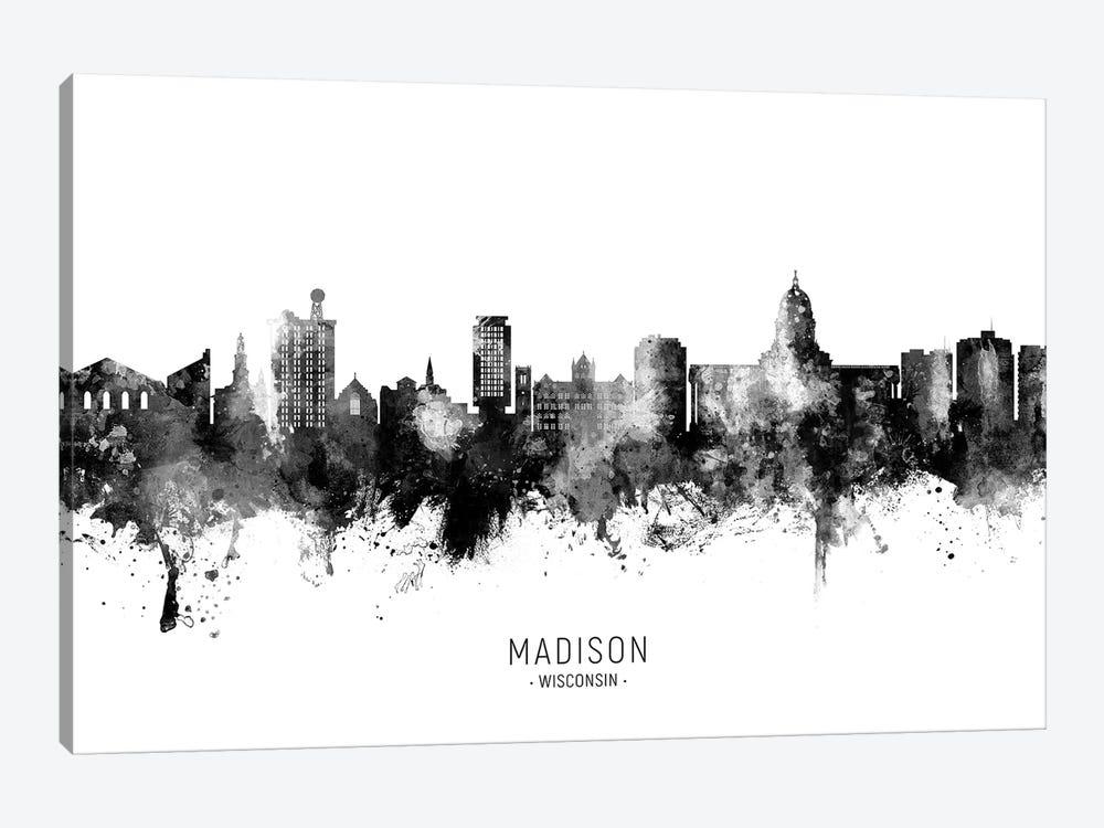 Madison Ii Wisconsin Skyline Name Bw by Michael Tompsett 1-piece Canvas Wall Art