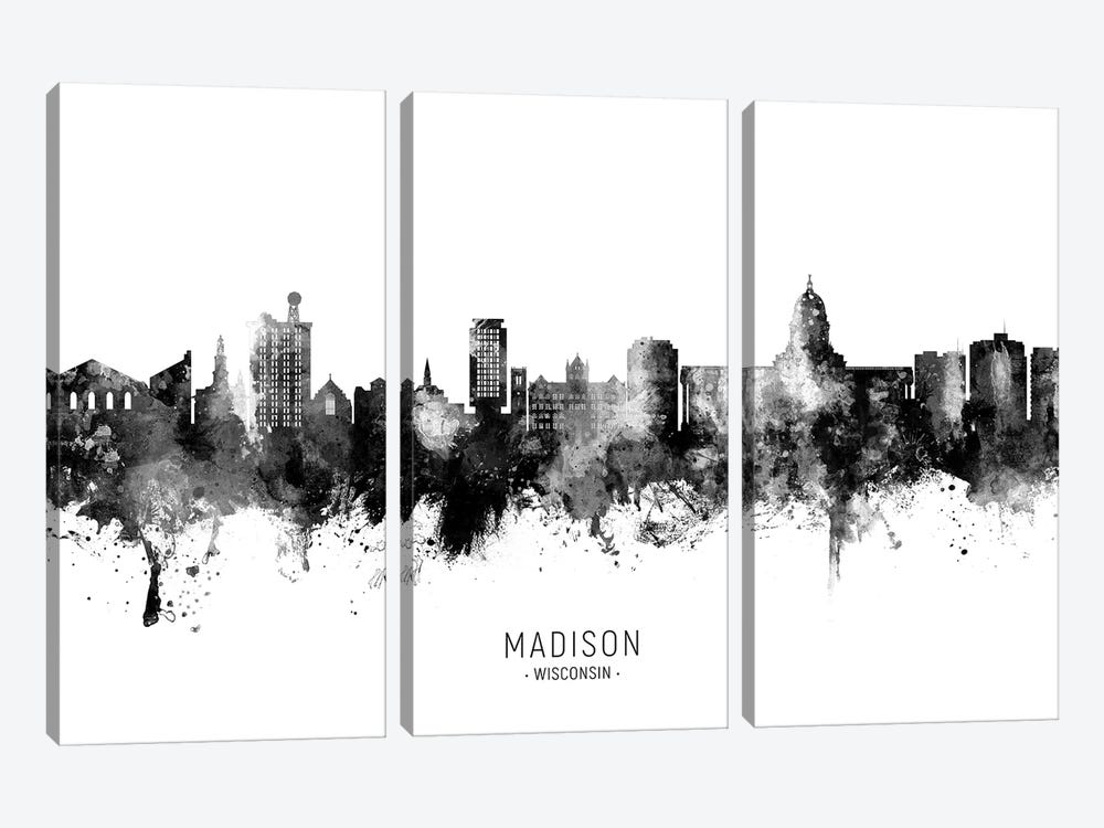 Madison Ii Wisconsin Skyline Name Bw by Michael Tompsett 3-piece Canvas Art