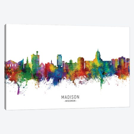 Madison Ii Wisconsin Skyline City Name Canvas Print #MTO2953} by Michael Tompsett Canvas Artwork
