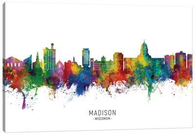 Madison Ii Wisconsin Skyline City Name Canvas Art Print