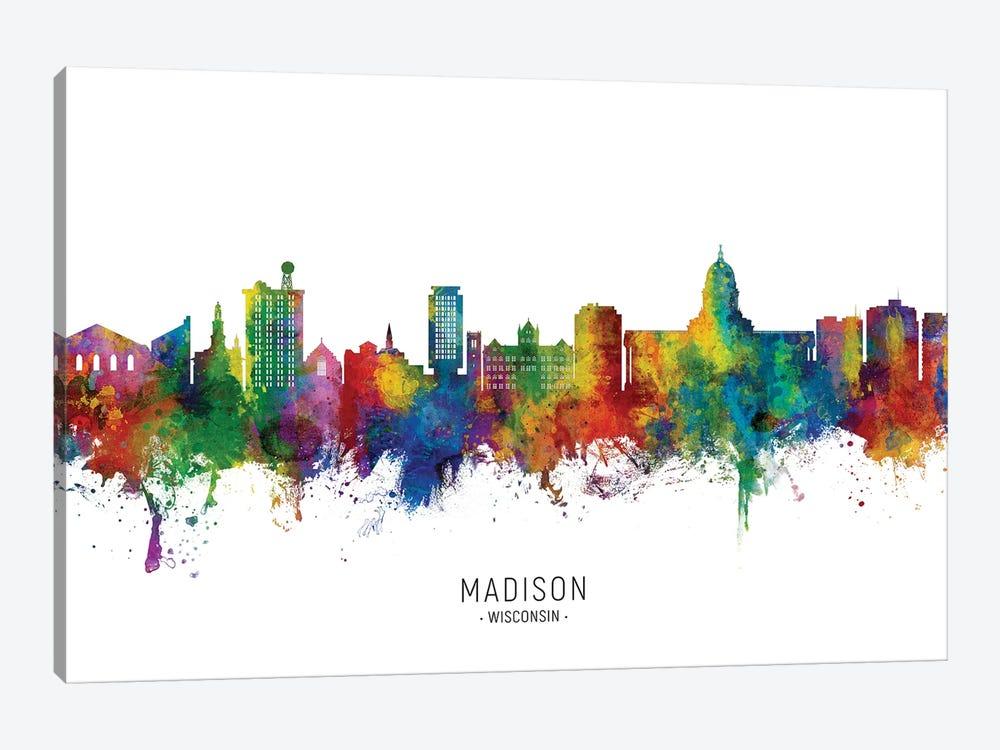 Madison Ii Wisconsin Skyline City Name by Michael Tompsett 1-piece Canvas Print