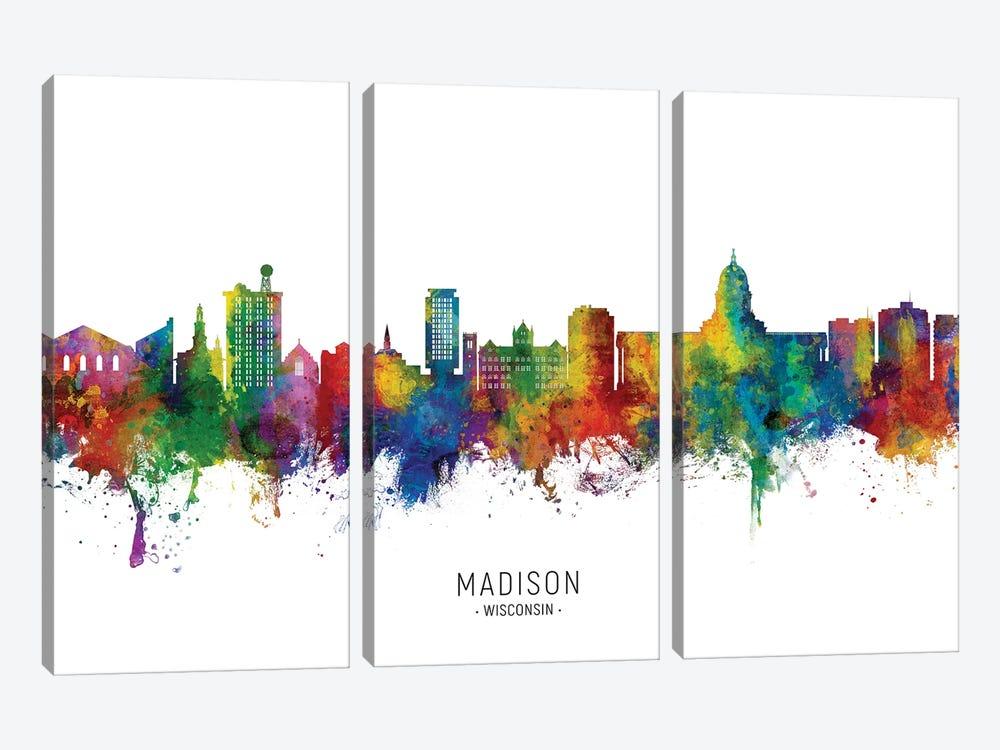 Madison Ii Wisconsin Skyline City Name by Michael Tompsett 3-piece Art Print