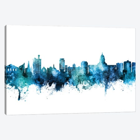 Madison Ii Wisconsin Skyline Blue Teal Canvas Print #MTO2954} by Michael Tompsett Art Print