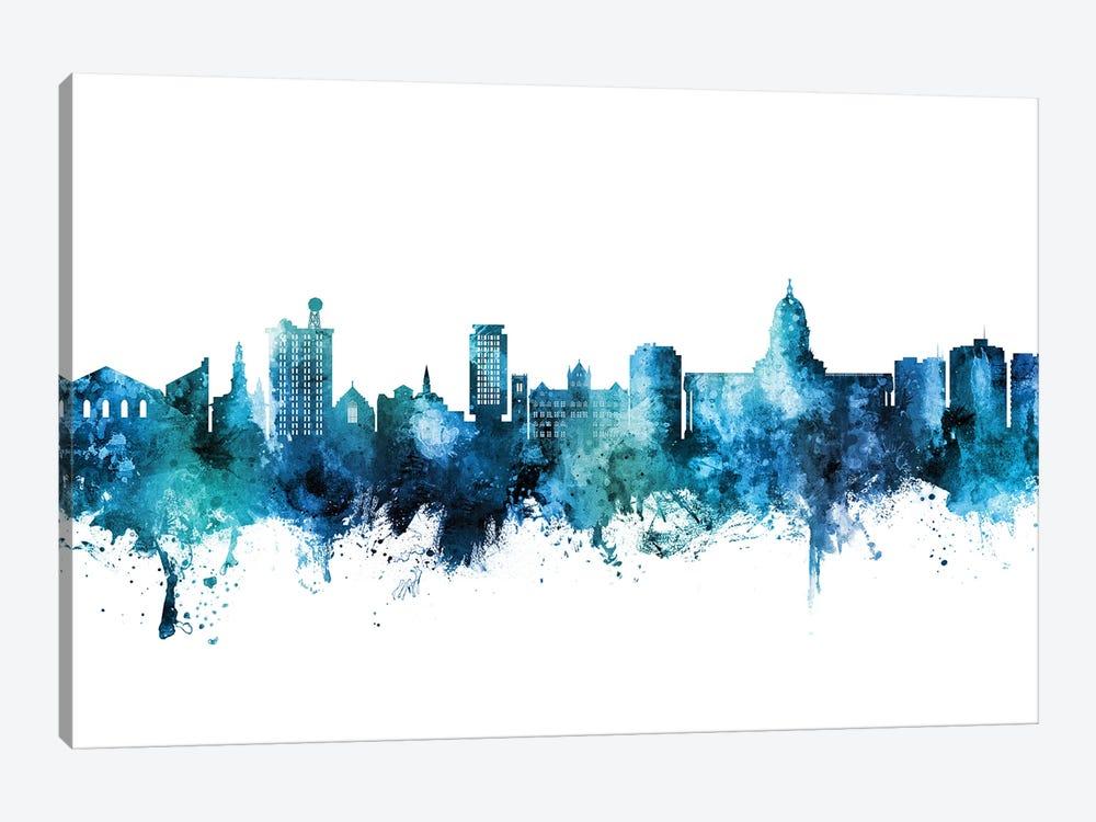 Madison Ii Wisconsin Skyline Blue Teal by Michael Tompsett 1-piece Canvas Wall Art