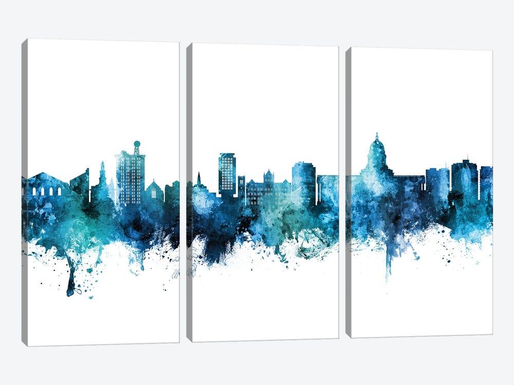 Madison Ii Wisconsin Skyline Blue Teal by Michael Tompsett 3-piece Canvas Art