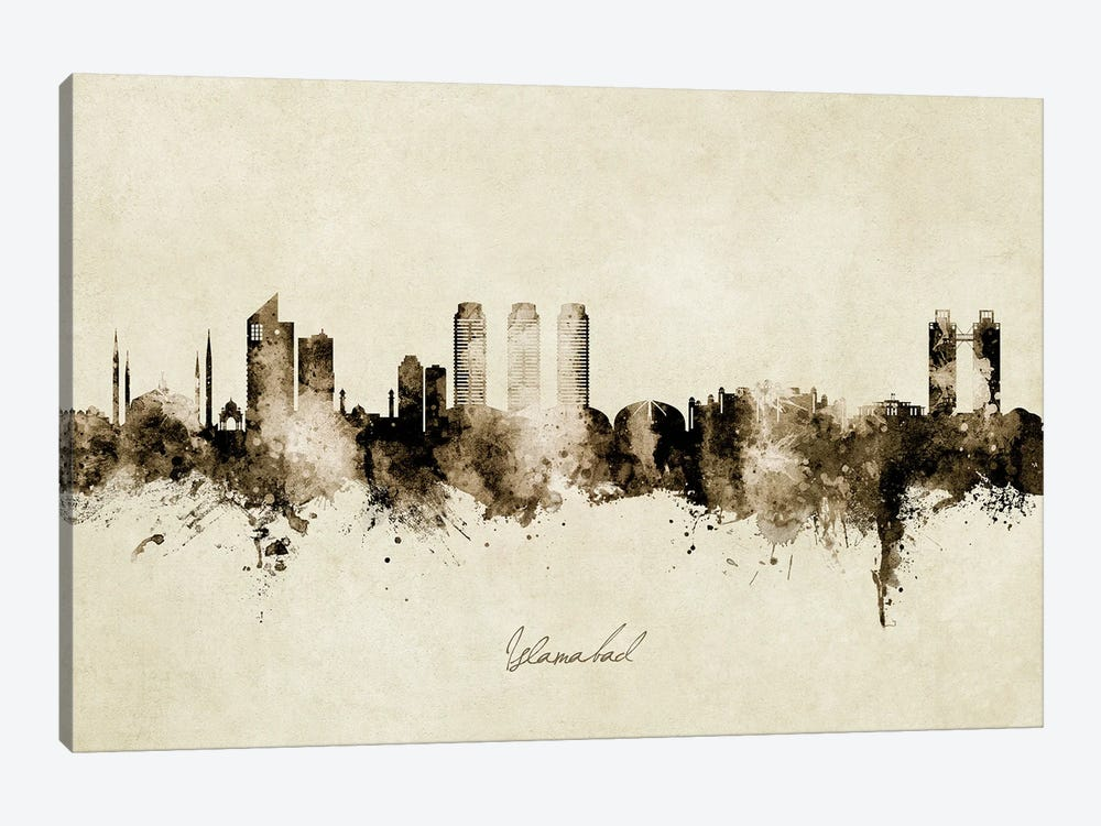 Islamabad Pakistan Skyline Vintage by Michael Tompsett 1-piece Canvas Wall Art