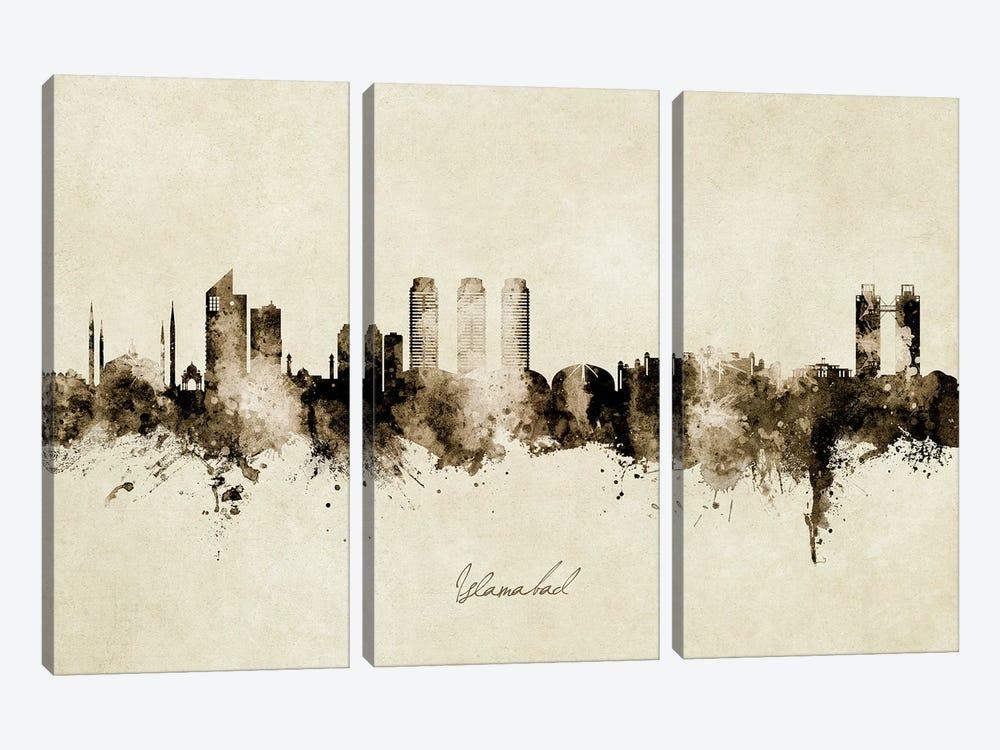 Islamabad Pakistan Skyline Vintage by Michael Tompsett 3-piece Canvas Art