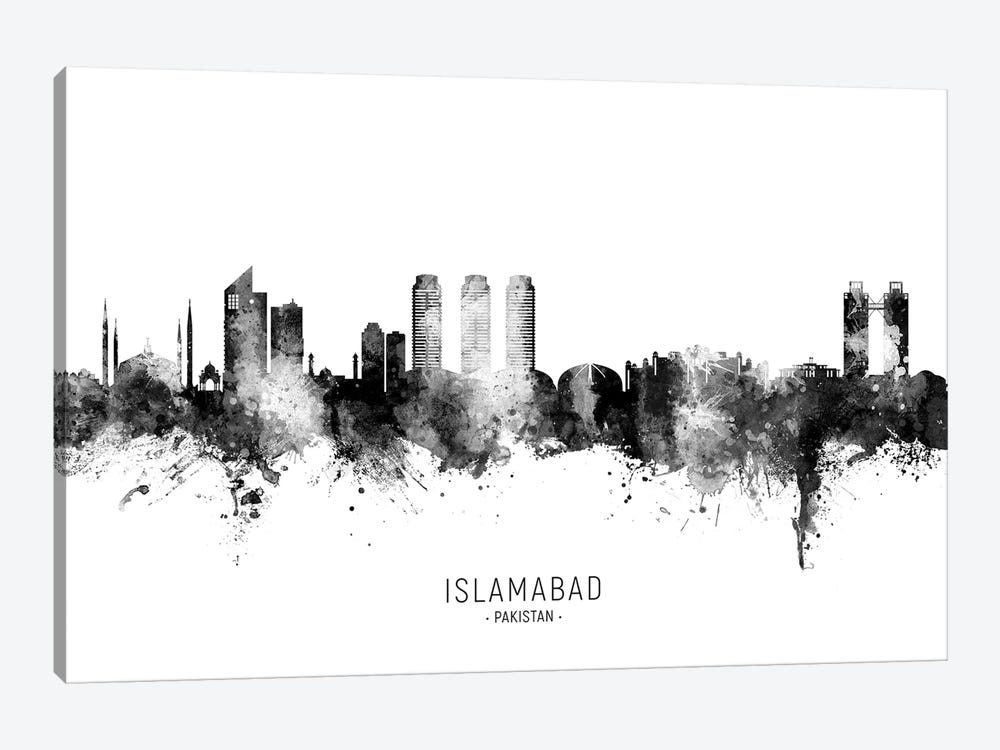 Islamabad Pakistan Skyline Name Bw by Michael Tompsett 1-piece Canvas Print