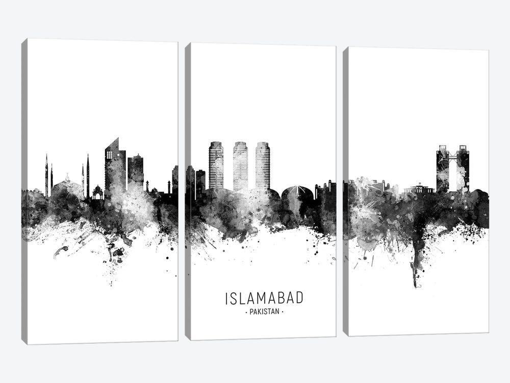 Islamabad Pakistan Skyline Name Bw by Michael Tompsett 3-piece Art Print