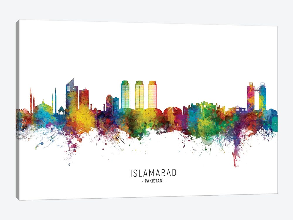 Islamabad Pakistan Skyline City Name by Michael Tompsett 1-piece Canvas Artwork