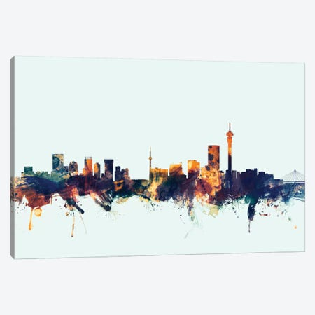 Johannesburg, South Africa On Blue Canvas Print #MTO295} by Michael Tompsett Art Print