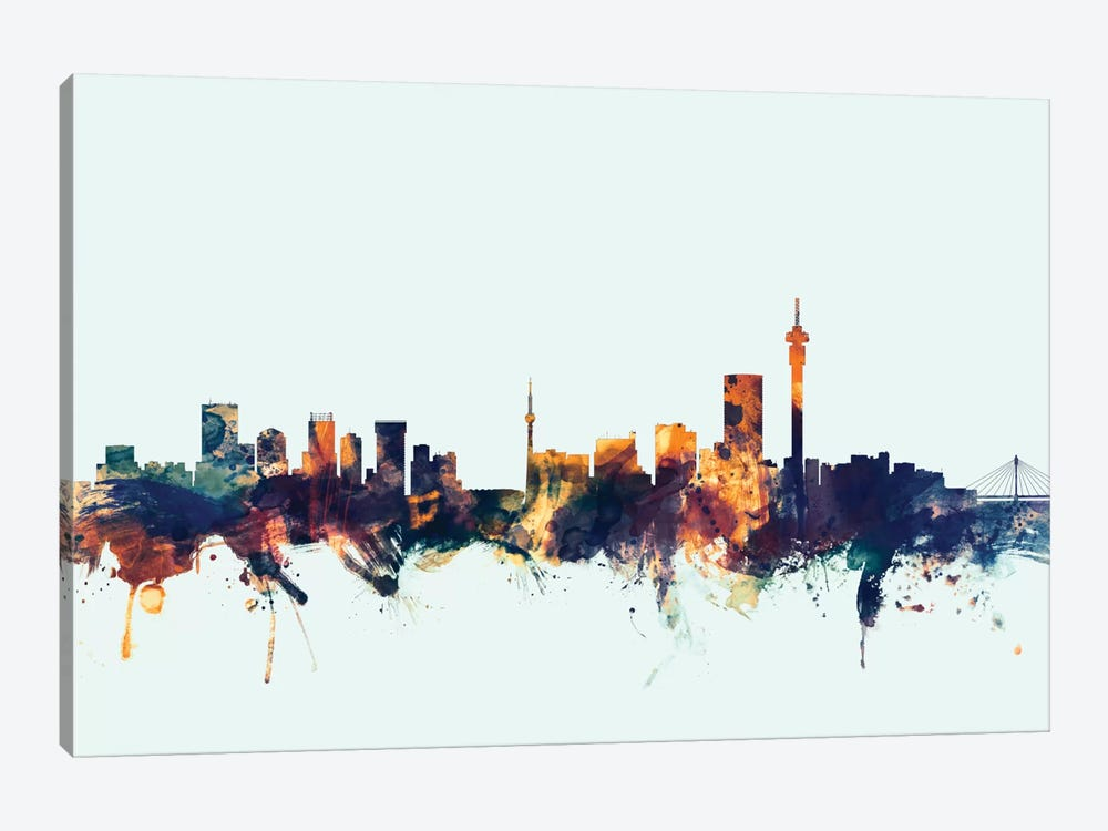 Johannesburg, South Africa On Blue by Michael Tompsett 1-piece Canvas Art