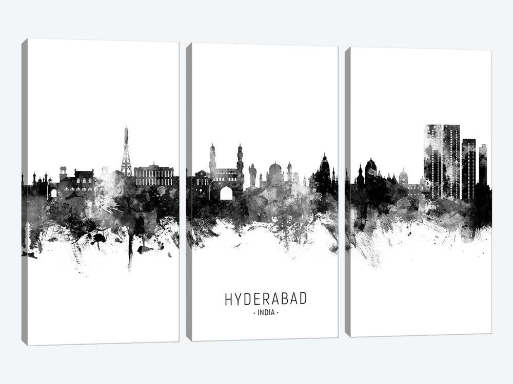 Hyderabad India Skyline Name Bw by Michael Tompsett 3-piece Art Print