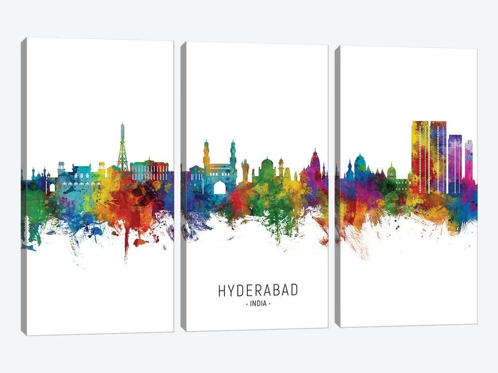 Hyderabad India Skyline City Name by Michael Tompsett 3-piece Canvas Art