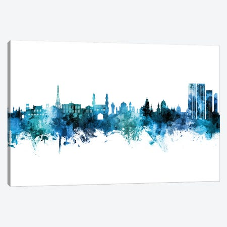 Hyderabad India Skyline Blue Teal Canvas Print #MTO2964} by Michael Tompsett Canvas Artwork