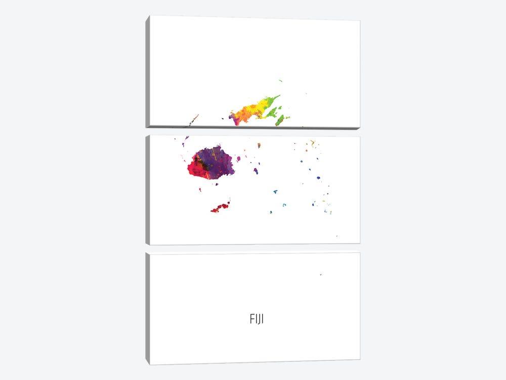 Fiji Map by Michael Tompsett 3-piece Canvas Print