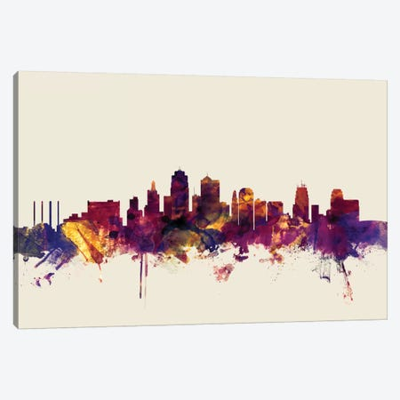 Kansas City, Missouri, USA On Beige Canvas Print #MTO296} by Michael Tompsett Art Print
